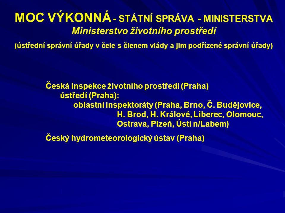 MOC VÝKONNÁ - STÁTNÍ SPRÁVA - MINISTERSTVA Ministerstvo životního prostředí (ústřední správní úřady v čele s členem vlády a jim podřízené správní úřad