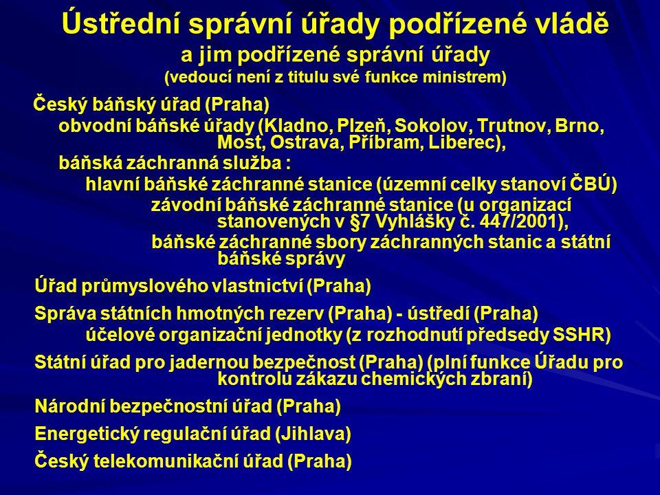 Ústřední správní úřady podřízené vládě a jim podřízené správní úřady (vedoucí není z titulu své funkce ministrem) Český báňský úřad (Praha) obvodní bá