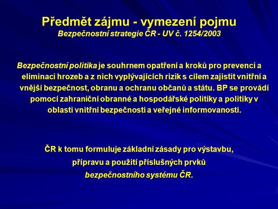 Předmět zájmu - vymezení pojmu Bezpečnostní strategie ČR - UV č. 1254/2003 Bezpečnostní politika je souhrnem opatření a kroků pro prevenci a eliminaci