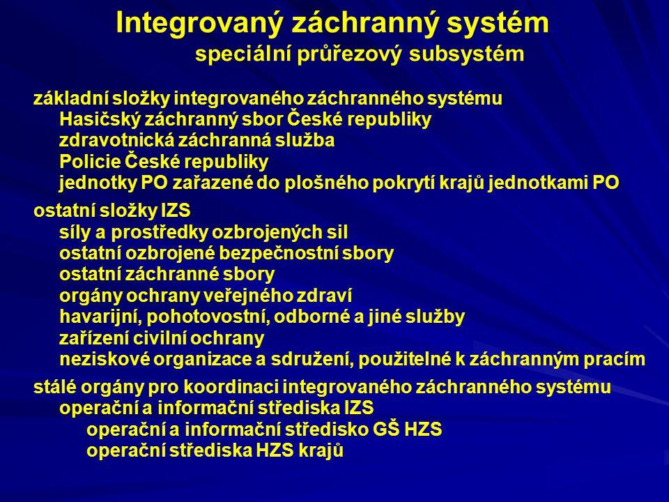 Integrovaný záchranný systém speciální průřezový subsystém základní složky integrovaného záchranného systému Hasičský záchranný sbor České republiky z