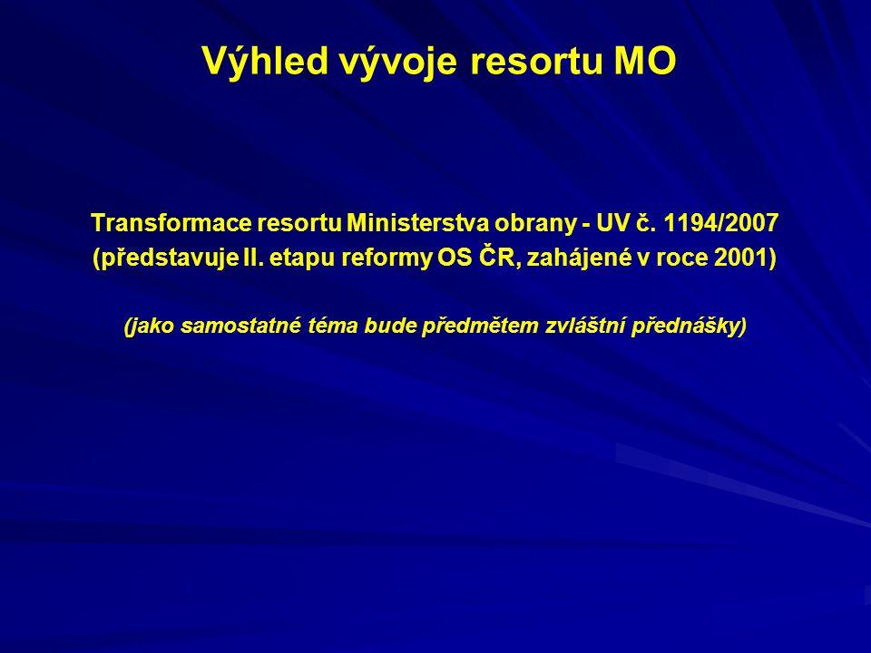 Výhled vývoje resortu MO Transformace resortu Ministerstva obrany - UV č. 1194/2007 (představuje II. etapu reformy OS ČR, zahájené v roce 2001) (jako