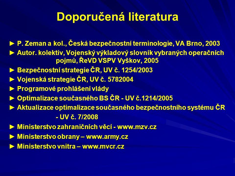 Doporučená literatura ► P. Zeman a kol., Česká bezpečnostní terminologie, VA Brno, 2003 ► Autor. kolektiv, Vojenský výkladový slovník vybraných operač