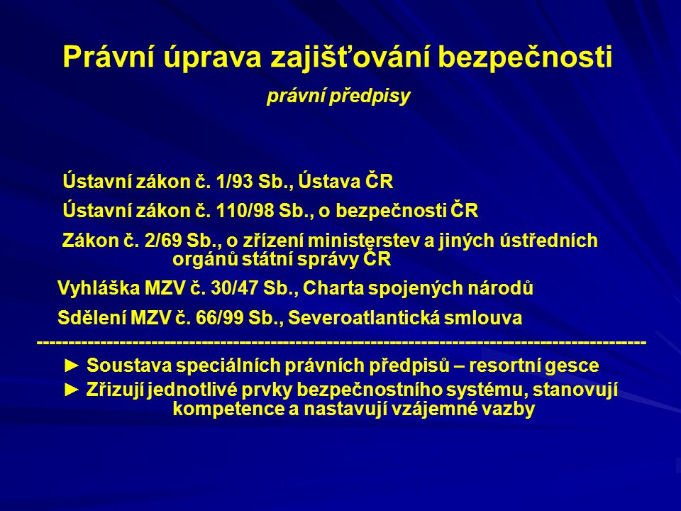 Režimy činnosti BS StavPrávní předpisVyhlašujeDůvodPodmínky MírovýstavMírovýstav Běžnýprávní řád Stav nebezpečí z.