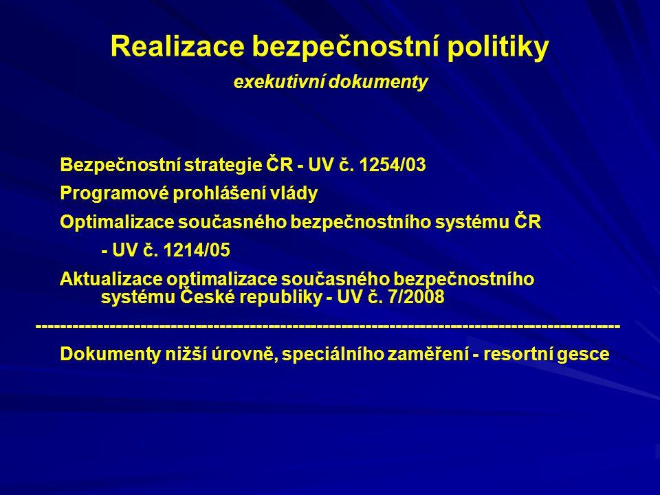 Realizace bezpečnostní politiky exekutivní dokumenty Bezpečnostní strategie ČR - UV č. 1254/03 Programové prohlášení vlády Optimalizace současného bez