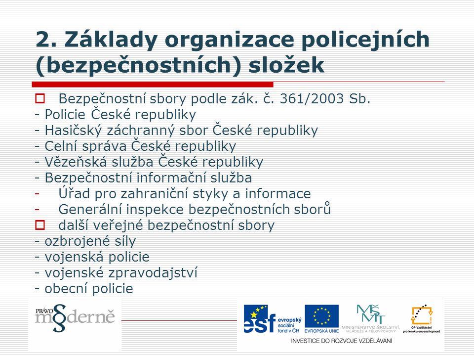 2. Základy organizace policejních (bezpečnostních) složek  Bezpečnostní sbory podle zák. č. 361/2003 Sb. - Policie České republiky - Hasičský záchran