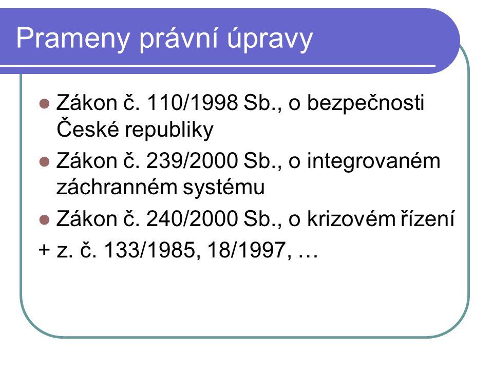 Prameny právní úpravy Zákon č.110/1998 Sb., o bezpečnosti České republiky Zákon č.