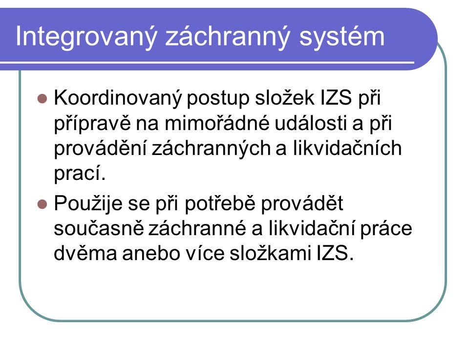 Složky IZS Základní  Hasičský záchranný sbor ČR (238/2000)  Jednotky požární ochrany (vyhl.