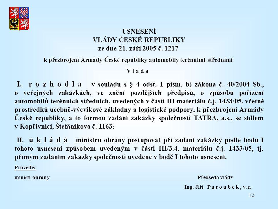 12 USNESENÍ VLÁDY ČESKÉ REPUBLIKY ze dne 21.září 2005 č.