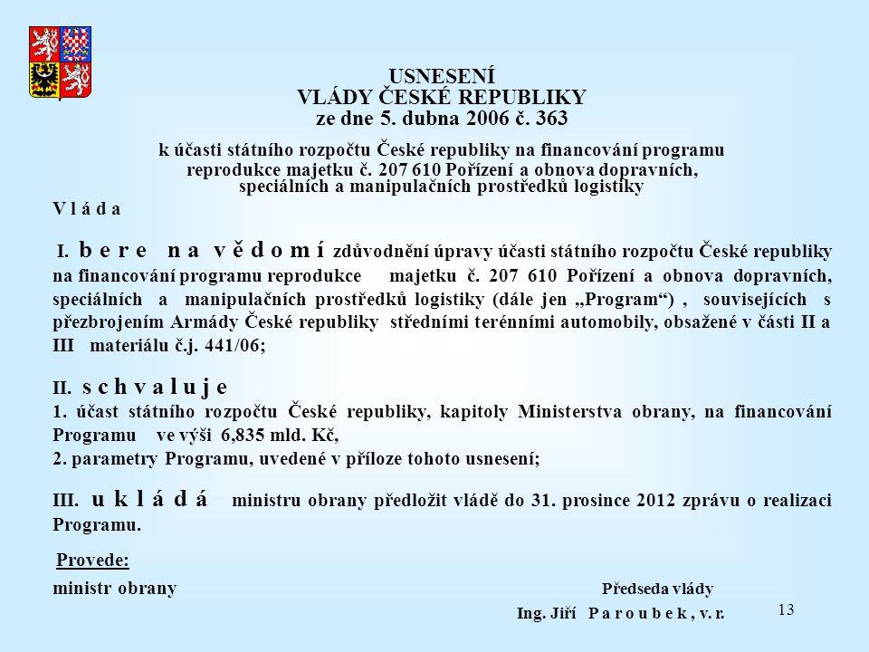 13 USNESENÍ VLÁDY ČESKÉ REPUBLIKY ze dne 5. dubna 2006 č. 363 k účasti státního rozpočtu České republiky na financování programu reprodukce majetku č.