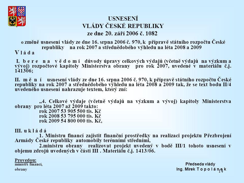 14 USNESENÍ VLÁDY ČESKÉ REPUBLIKY ze dne 20. září 2006 č. 1082 o změně usnesení vlády ze dne 16. srpna 2006 č. 970, k přípravě státního rozpočtu České