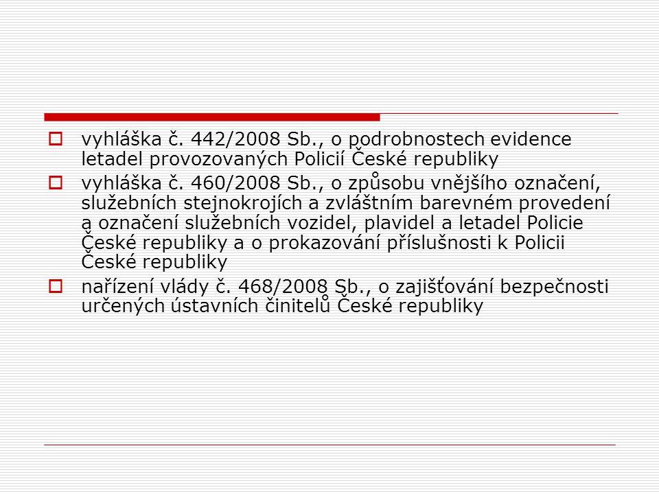  vyhláška č. 442/2008 Sb., o podrobnostech evidence letadel provozovaných Policií České republiky  vyhláška č. 460/2008 Sb., o způsobu vnějšího ozna