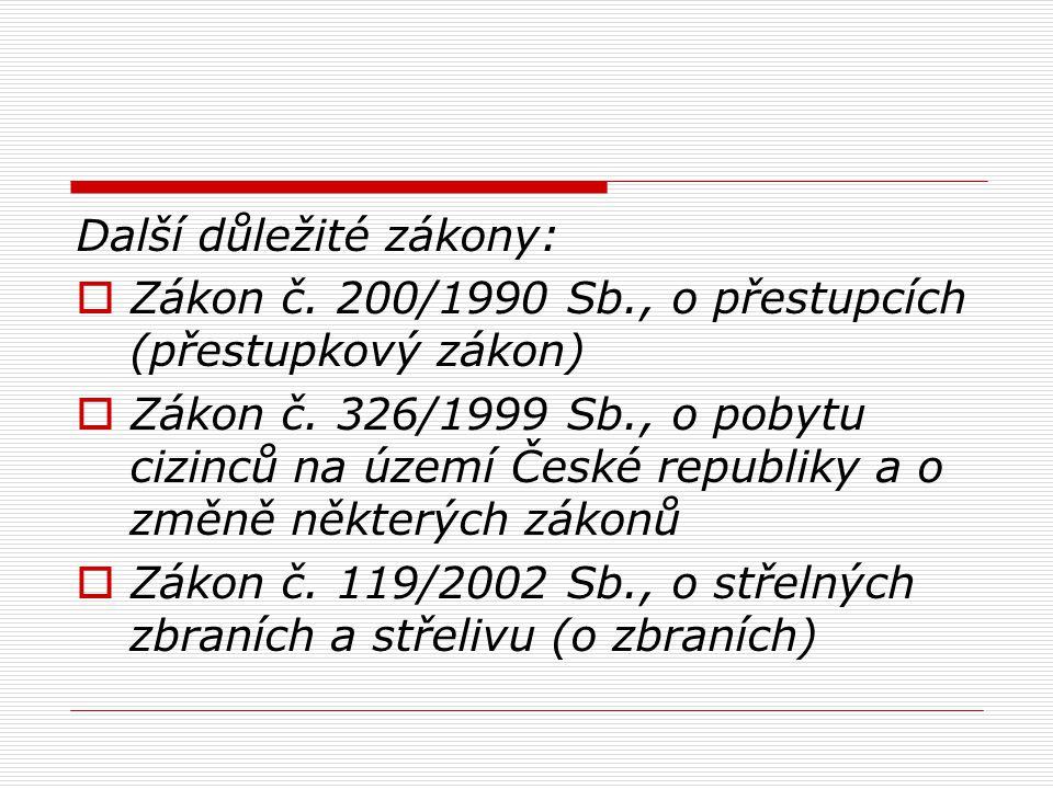 Další důležité zákony:  Zákon č. 200/1990 Sb., o přestupcích (přestupkový zákon)  Zákon č. 326/1999 Sb., o pobytu cizinců na území České republiky a