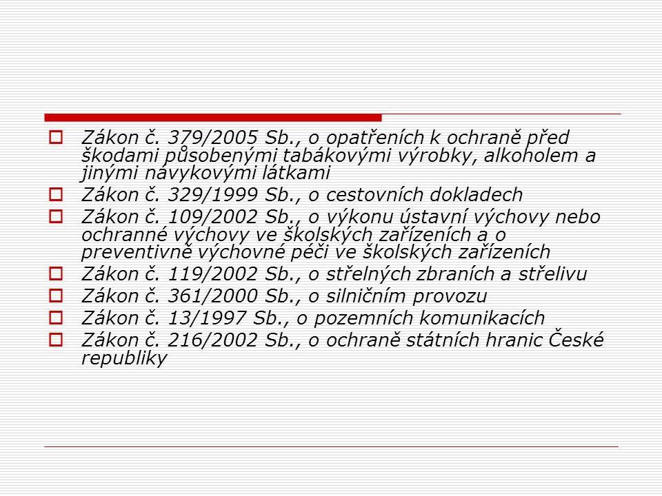  Zákon č. 379/2005 Sb., o opatřeních k ochraně před škodami působenými tabákovými výrobky, alkoholem a jinými návykovými látkami  Zákon č. 329/1999
