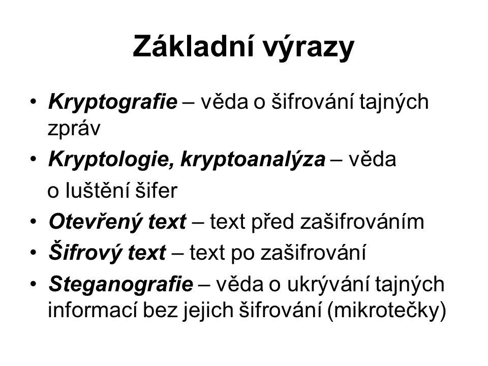 Základní výrazy Kryptografie – věda o šifrování tajných zpráv Kryptologie, kryptoanalýza – věda o luštění šifer Otevřený text – text před zašifrováním