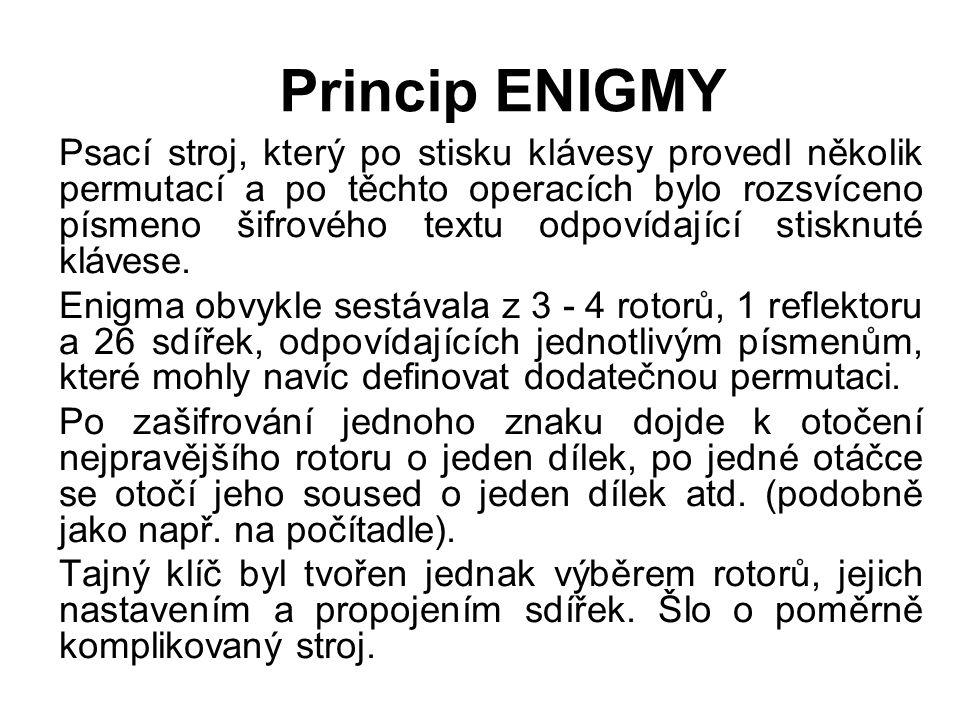 Princip ENIGMY Psací stroj, který po stisku klávesy provedl několik permutací a po těchto operacích bylo rozsvíceno písmeno šifrového textu odpovídají