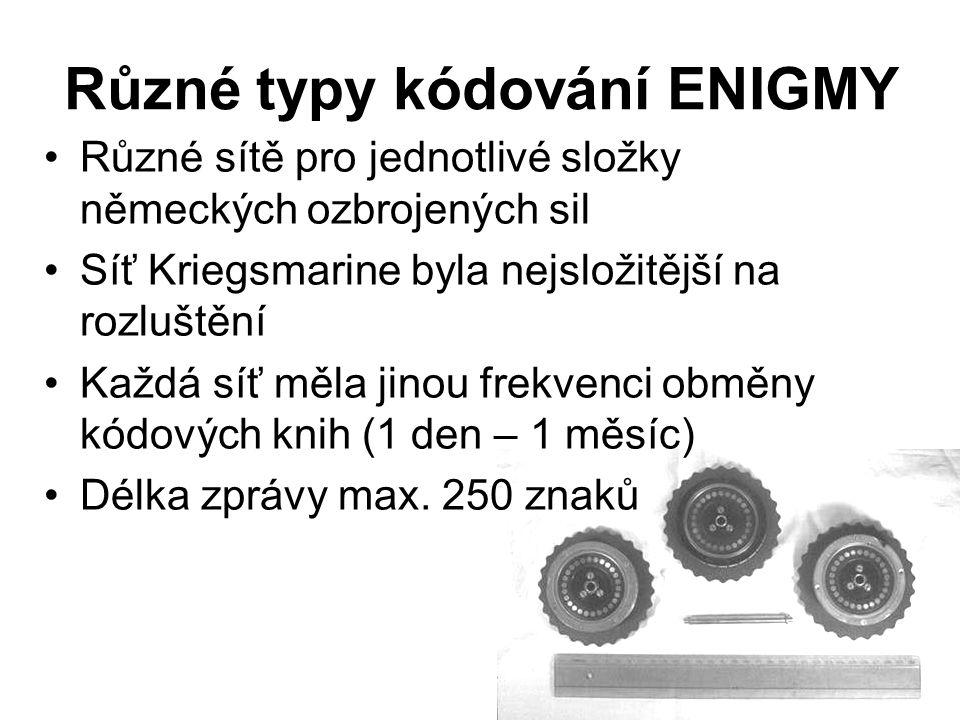 Různé typy kódování ENIGMY Různé sítě pro jednotlivé složky německých ozbrojených sil Síť Kriegsmarine byla nejsložitější na rozluštění Každá síť měla