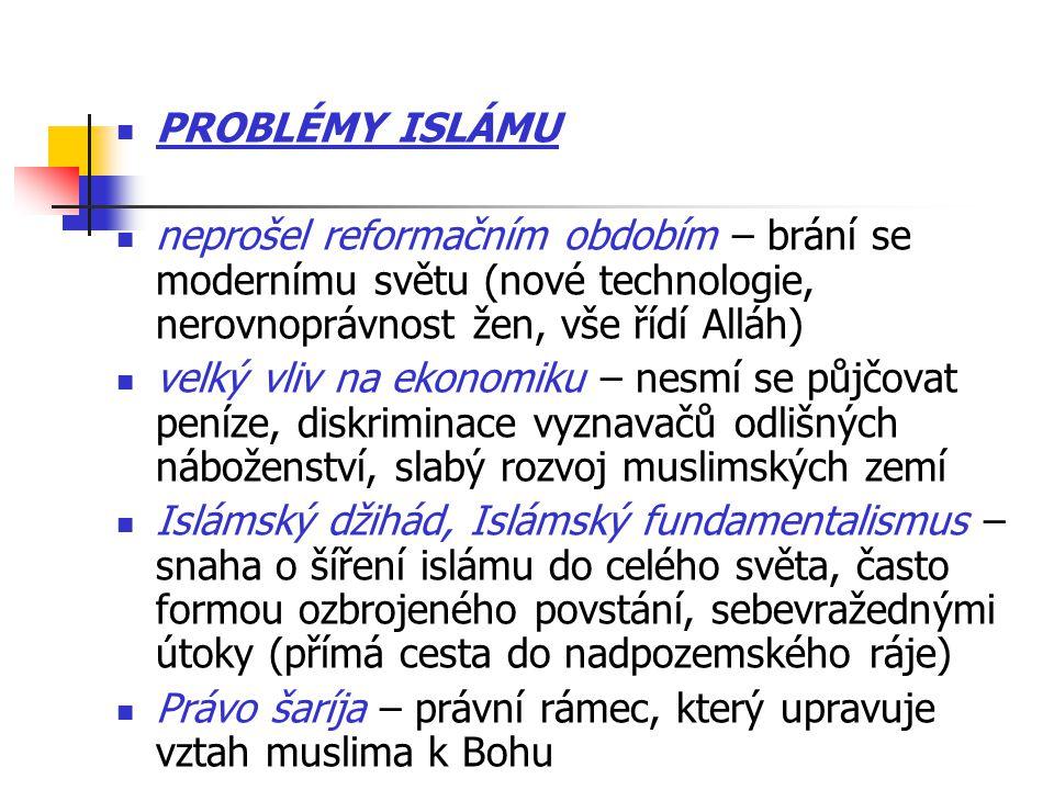 PROBLÉMY ISLÁMU neprošel reformačním obdobím – brání se modernímu světu (nové technologie, nerovnoprávnost žen, vše řídí Alláh) velký vliv na ekonomiku – nesmí se půjčovat peníze, diskriminace vyznavačů odlišných náboženství, slabý rozvoj muslimských zemí Islámský džihád, Islámský fundamentalismus – snaha o šíření islámu do celého světa, často formou ozbrojeného povstání, sebevražednými útoky (přímá cesta do nadpozemského ráje) Právo šaríja – právní rámec, který upravuje vztah muslima k Bohu