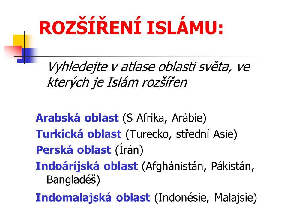 ROZŠÍŘENÍ ISLÁMU: Vyhledejte v atlase oblasti světa, ve kterých je Islám rozšířen Arabská oblast (S Afrika, Arábie) Turkická oblast (Turecko, střední Asie) Perská oblast (Írán) Indoáríjská oblast (Afghánistán, Pákistán, Bangladéš) Indomalajská oblast (Indonésie, Malajsie)