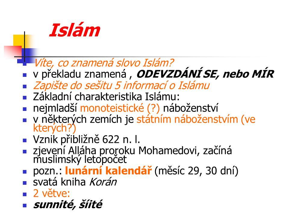 Islám Víte, co znamená slovo Islám.