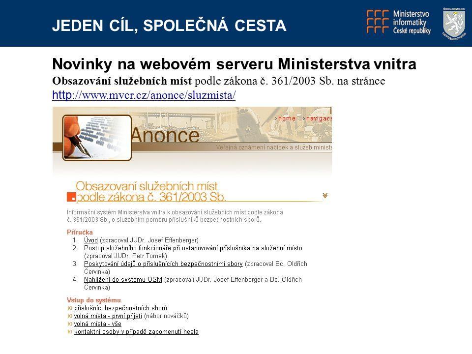 JEDEN CÍL, SPOLEČNÁ CESTA Novinky na webovém serveru Ministerstva vnitra Informace do aplikace Obsazování služebních míst dodává personální odbor Ministerstva vnitra, který je přijímá od Vězeňské služby, Celní správy, Police ČR a Hasičského záchranného sboru.