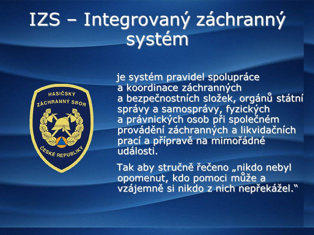 IZS – Integrovaný záchranný systém je systém pravidel spolupráce a koordinace záchranných a bezpečnostních složek, orgánů státní správy a samosprávy, fyzických a právnických osob při společném provádění záchranných a likvidačních prací a přípravě na mimořádné události.