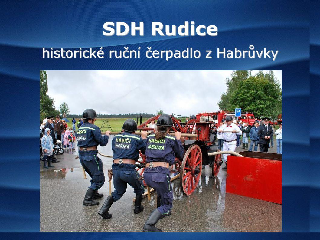 SDH Rudice historické ruční čerpadlo z Habrůvky