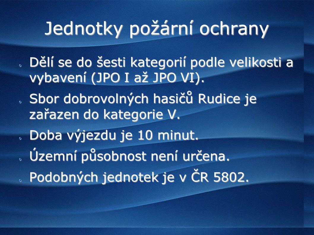 Jednotky požární ochrany Dělí se do šesti kategorií podle velikosti a vybavení (JPO I až JPO VI).