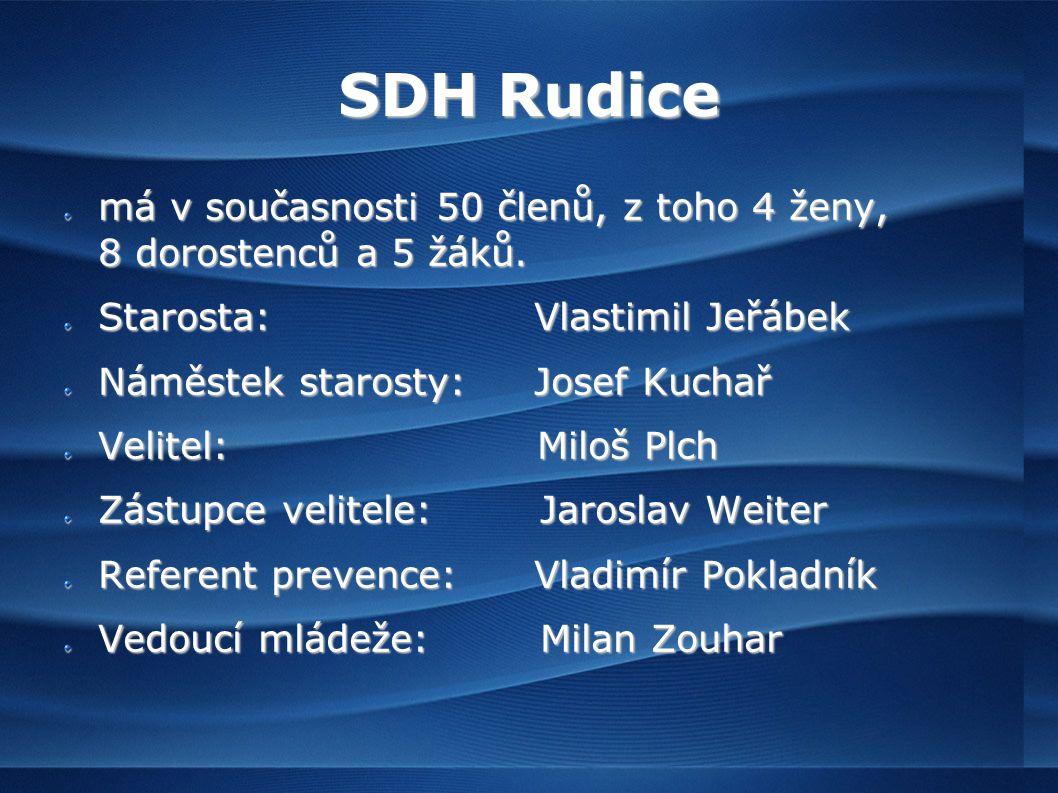SDH Rudice má v současnosti 50 členů, z toho 4 ženy, 8 dorostenců a 5 žáků.