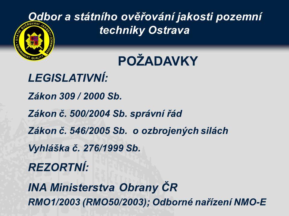 Odbor a státního ověřování jakosti pozemní techniky Ostrava LEGISLATIVNÍ: Zákon 309 / 2000 Sb.