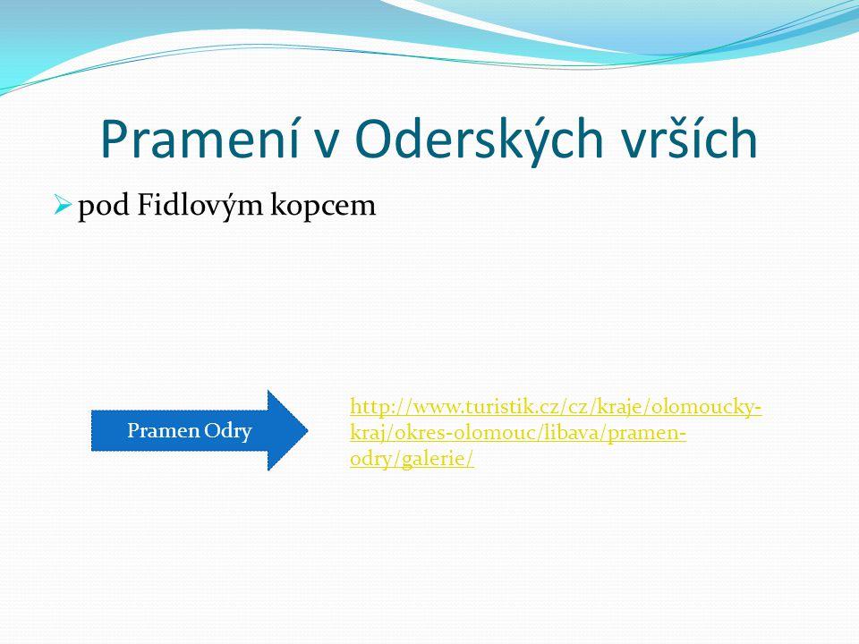 Pramení v Oderských vrších  pod Fidlovým kopcem Pramen Odry http://www.turistik.cz/cz/kraje/olomoucky- kraj/okres-olomouc/libava/pramen- odry/galerie/
