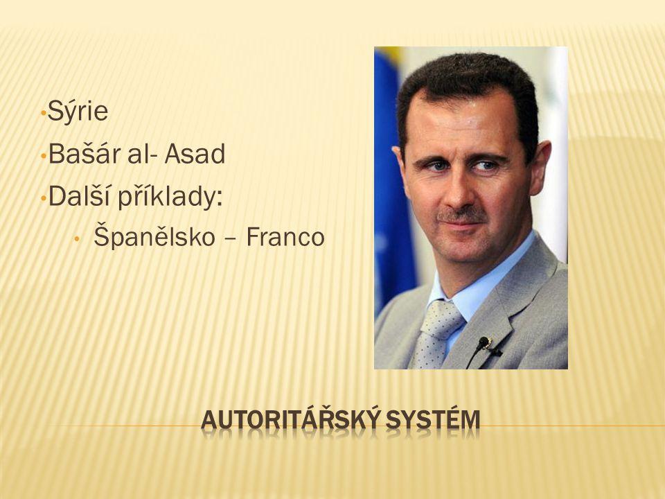Sýrie Bašár al- Asad Další příklady: Španělsko – Franco