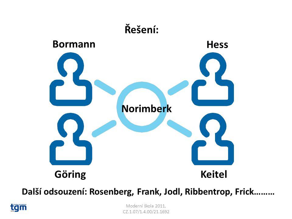 Moderní škola 2011, CZ.1.07/1.4.00/21.1692 Norimberk Bormann Hess GöringKeitel Další odsouzení: Rosenberg, Frank, Jodl, Ribbentrop, Frick……… Řešení: