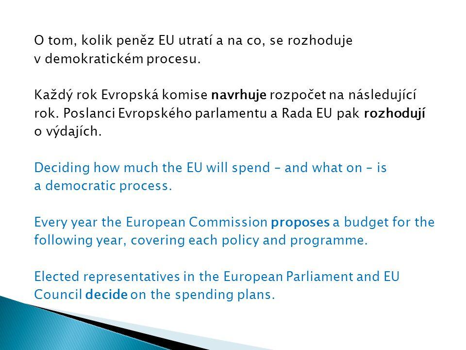 O tom, kolik peněz EU utratí a na co, se rozhoduje v demokratickém procesu. Každý rok Evropská komise navrhuje rozpočet na následující rok. Poslanci E