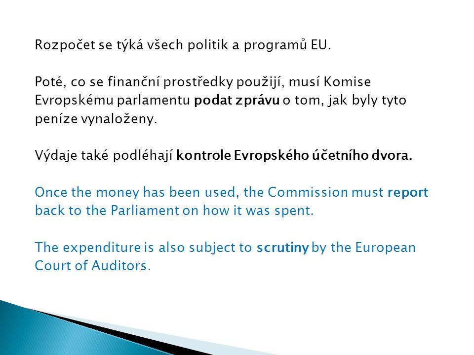 Rozpočet se týká všech politik a programů EU. Poté, co se finanční prostředky použijí, musí Komise Evropskému parlamentu podat zprávu o tom, jak byly