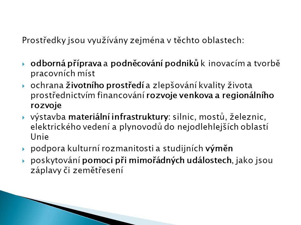 Prostředky jsou využívány zejména v těchto oblastech:  odborná příprava a podněcování podniků k inovacím a tvorbě pracovních míst  ochrana životního