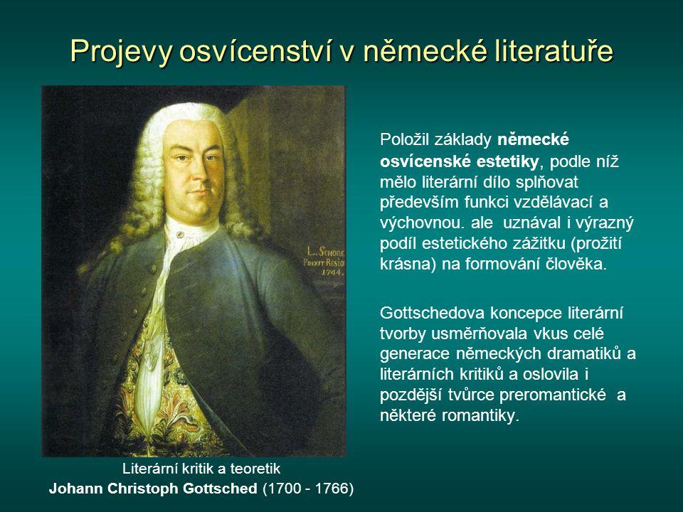 Projevy osvícenství v německé literatuře Spisovatel a jazykovědec Friedrich Gottlieb Klopstock (1724 - 1803) a jeho náhrobek v Hamburku