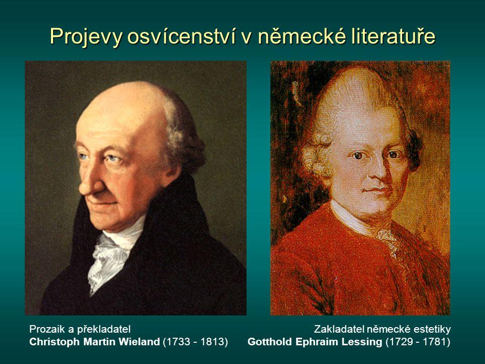 Projevy osvícenství v německé literatuře Učenec a filozof Immanuel Kant (1724 - 1804) a jeho náhrobek v Kaliningradu