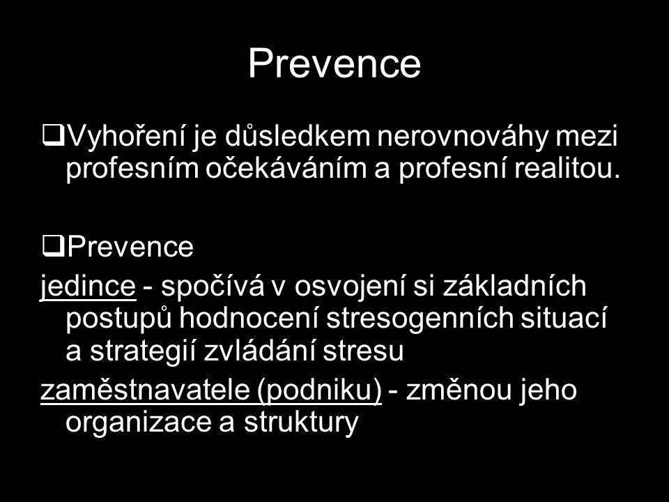 Prevence  Vyhoření je důsledkem nerovnováhy mezi profesním očekáváním a profesní realitou.  Prevence jedince - spočívá v osvojení si základních post