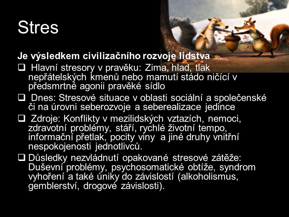 Stres Je výsledkem civilizačního rozvoje lidstva  Hlavní stresory v pravěku: Zima, hlad, tlak nepřátelských kmenů nebo mamutí stádo ničící v předsmrt