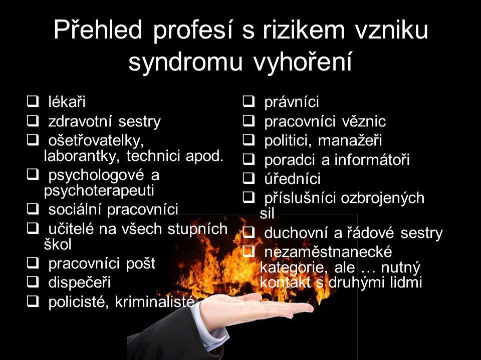Přehled profesí s rizikem vzniku syndromu vyhoření  lékaři  zdravotní sestry  ošetřovatelky, laborantky, technici apod.  psychologové a psychotera