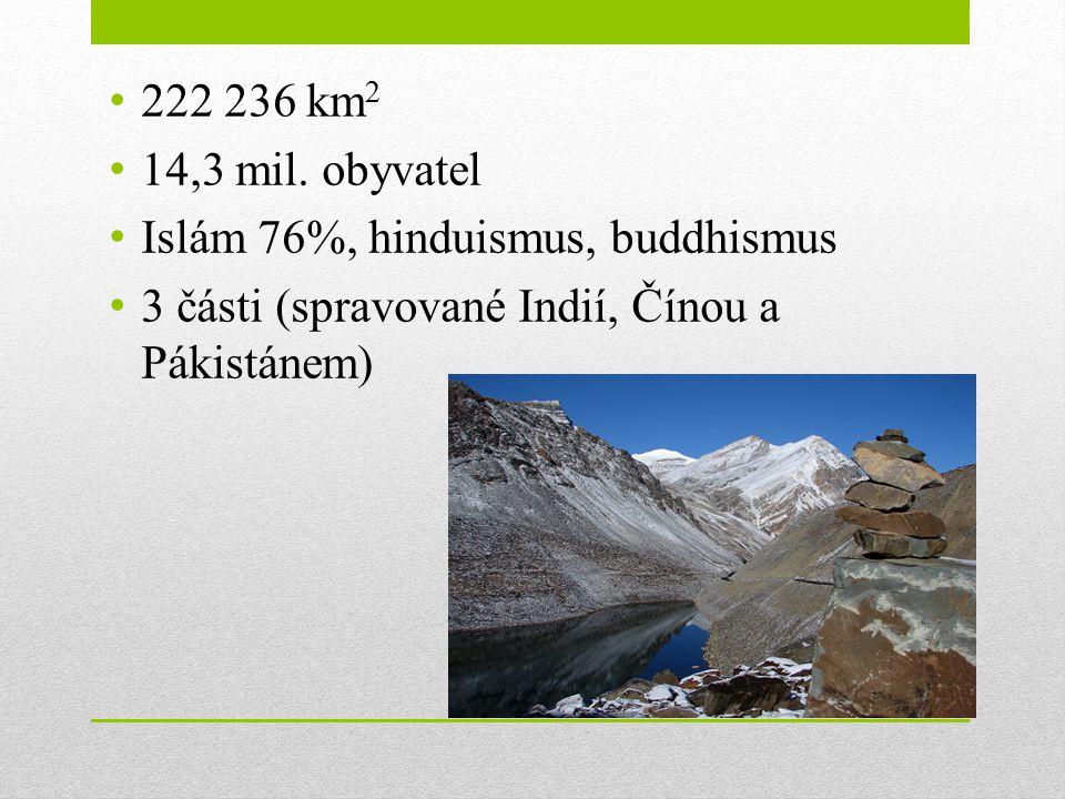 222 236 km 2 14,3 mil. obyvatel Islám 76%, hinduismus, buddhismus 3 části (spravované Indií, Čínou a Pákistánem)