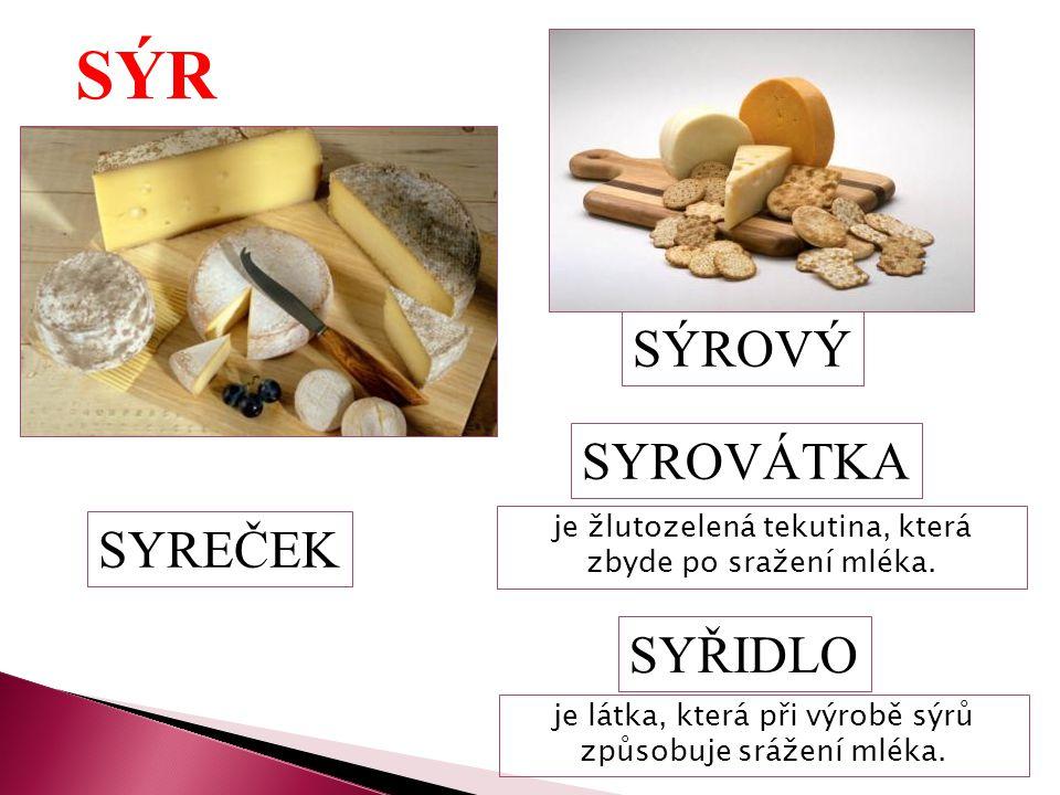 SÝR SYREČEK SÝROVÝ SYROVÁTKA je žlutozelená tekutina, která zbyde po sražení mléka. SYŘIDLO je látka, která při výrobě sýrů způsobuje srážení mléka.