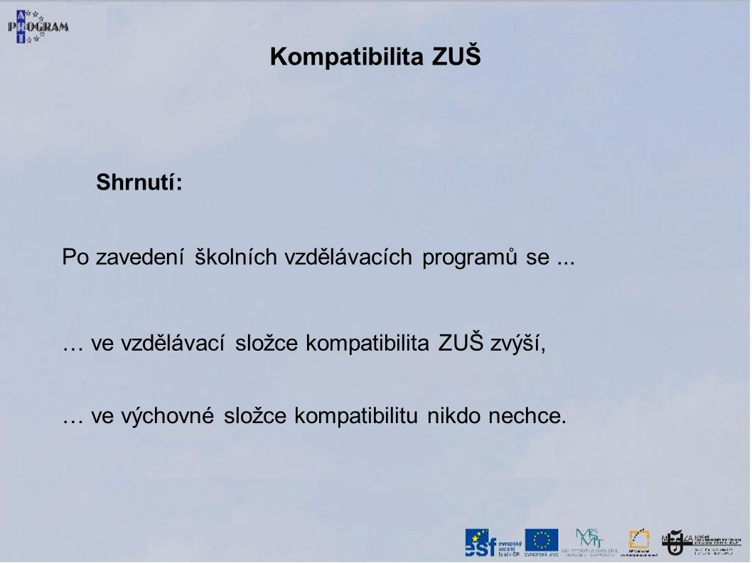 Kompatibilita ZUŠ Shrnutí: Po zavedení školních vzdělávacích programů se...
