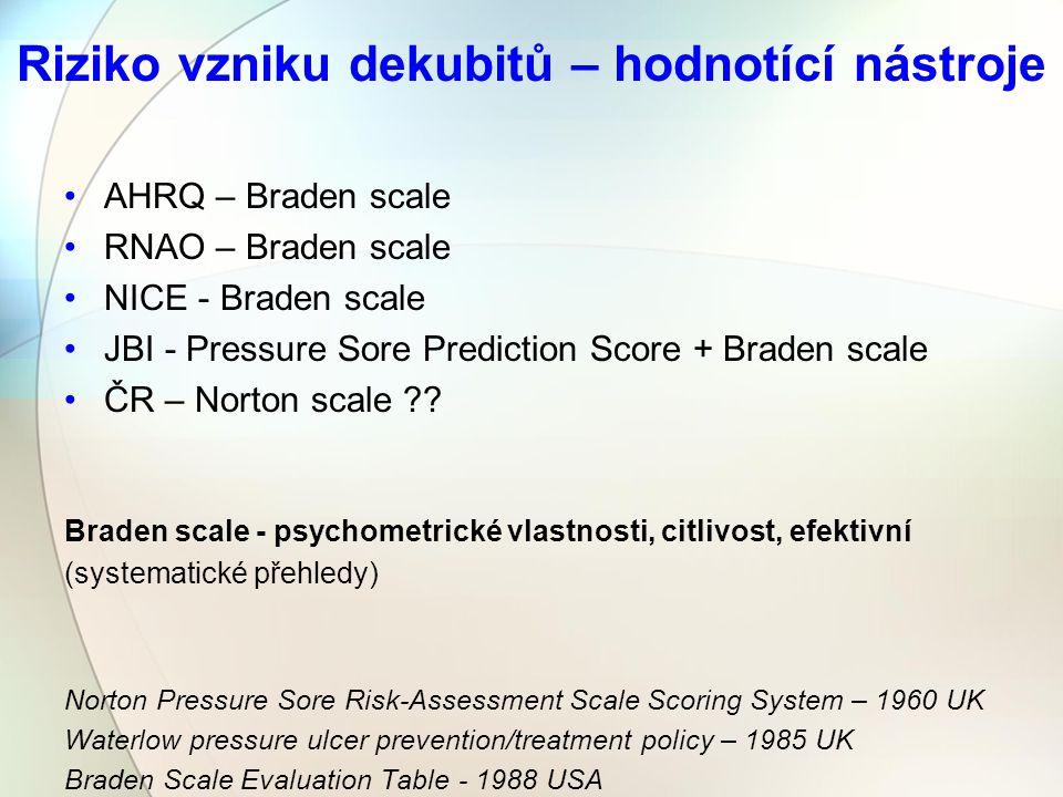 Riziko vzniku dekubitů – hodnotící nástroje AHRQ – Braden scale RNAO – Braden scale NICE - Braden scale JBI - Pressure Sore Prediction Score + Braden scale ČR – Norton scale ?.