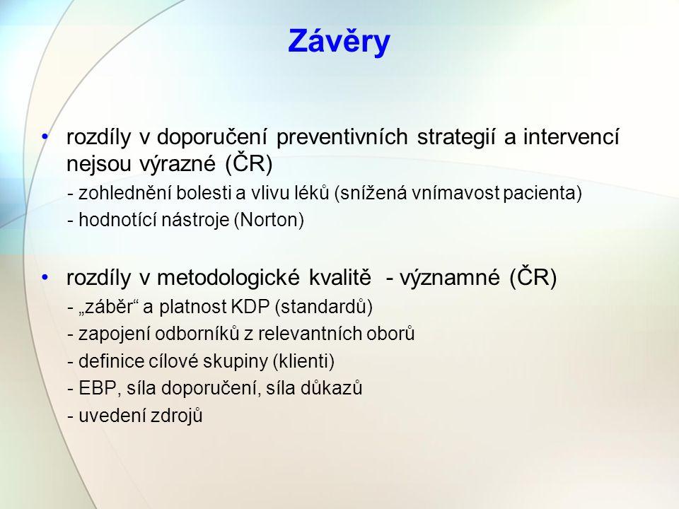 """Závěry rozdíly v doporučení preventivních strategií a intervencí nejsou výrazné (ČR) - zohlednění bolesti a vlivu léků (snížená vnímavost pacienta) - hodnotící nástroje (Norton) rozdíly v metodologické kvalitě - významné (ČR) - """"záběr a platnost KDP (standardů) - zapojení odborníků z relevantních oborů - definice cílové skupiny (klienti) - EBP, síla doporučení, síla důkazů - uvedení zdrojů"""