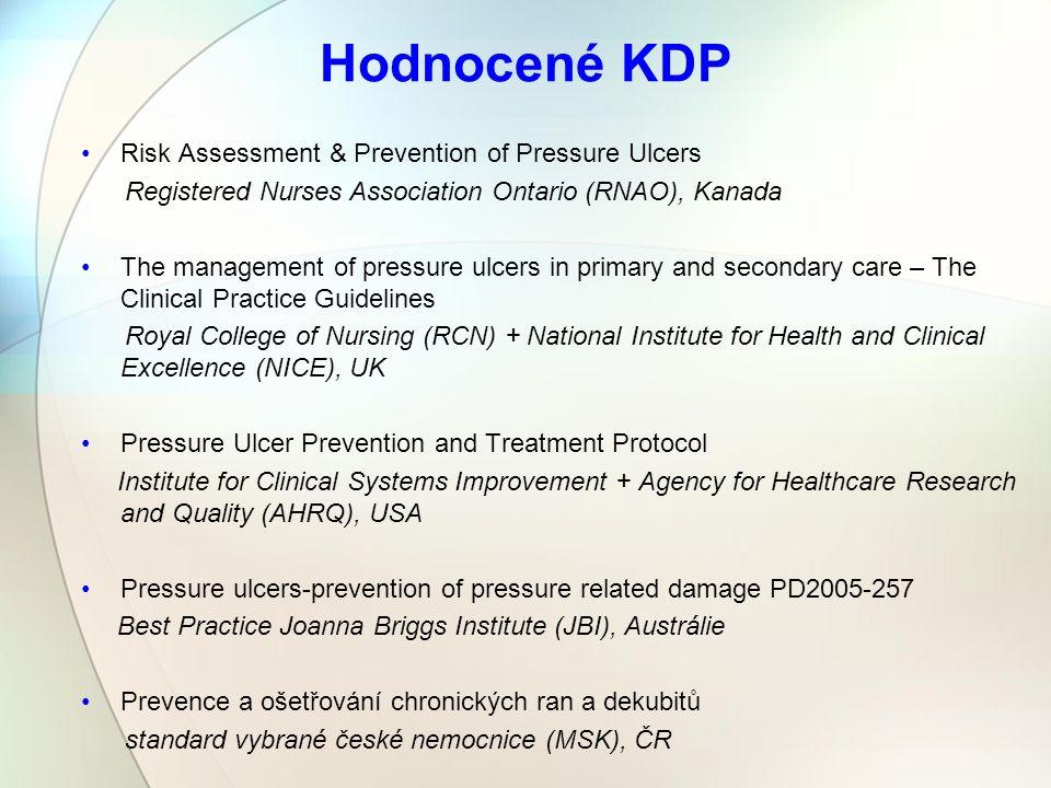 Hodnocené KDP Risk Assessment & Prevention of Pressure Ulcers Registered Nurses Association Ontario (RNAO), Kanada The management of pressure ulcers i