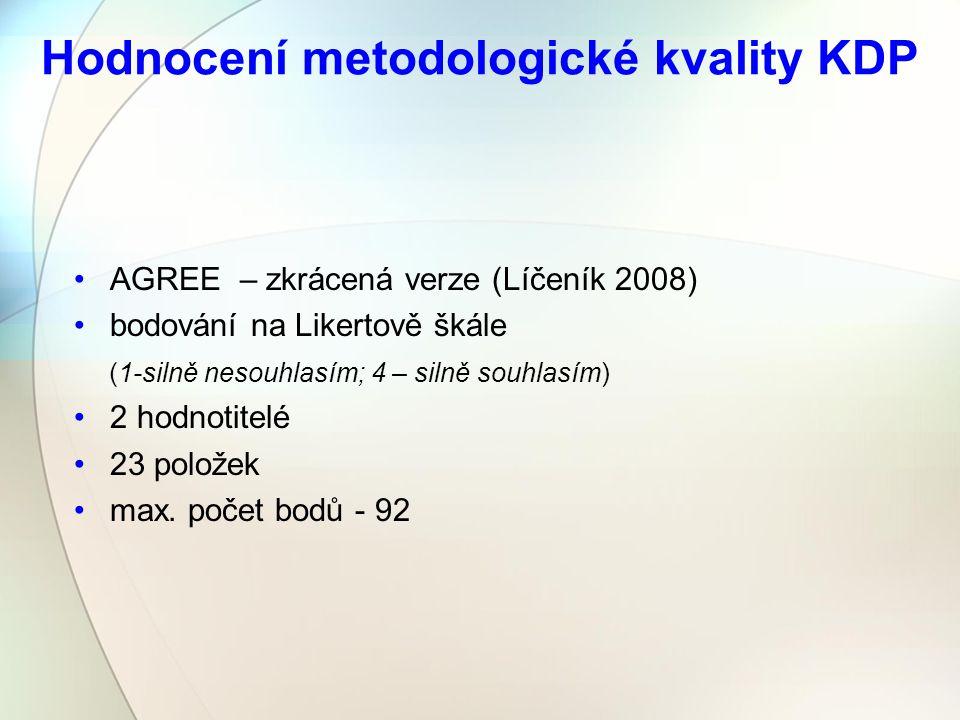 Hodnocení metodologické kvality KDP AGREE – zkrácená verze (Líčeník 2008) bodování na Likertově škále (1-silně nesouhlasím; 4 – silně souhlasím) 2 hodnotitelé 23 položek max.