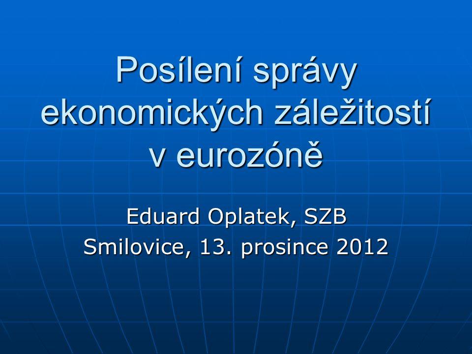 Posílení správy ekonomických záležitostí v eurozóně Eduard Oplatek, SZB Smilovice, 13.