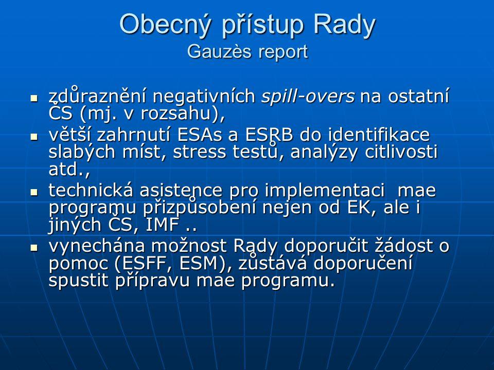 Obecný přístup Rady Gauzès report zdůraznění negativních spill-overs na ostatní ČS (mj.