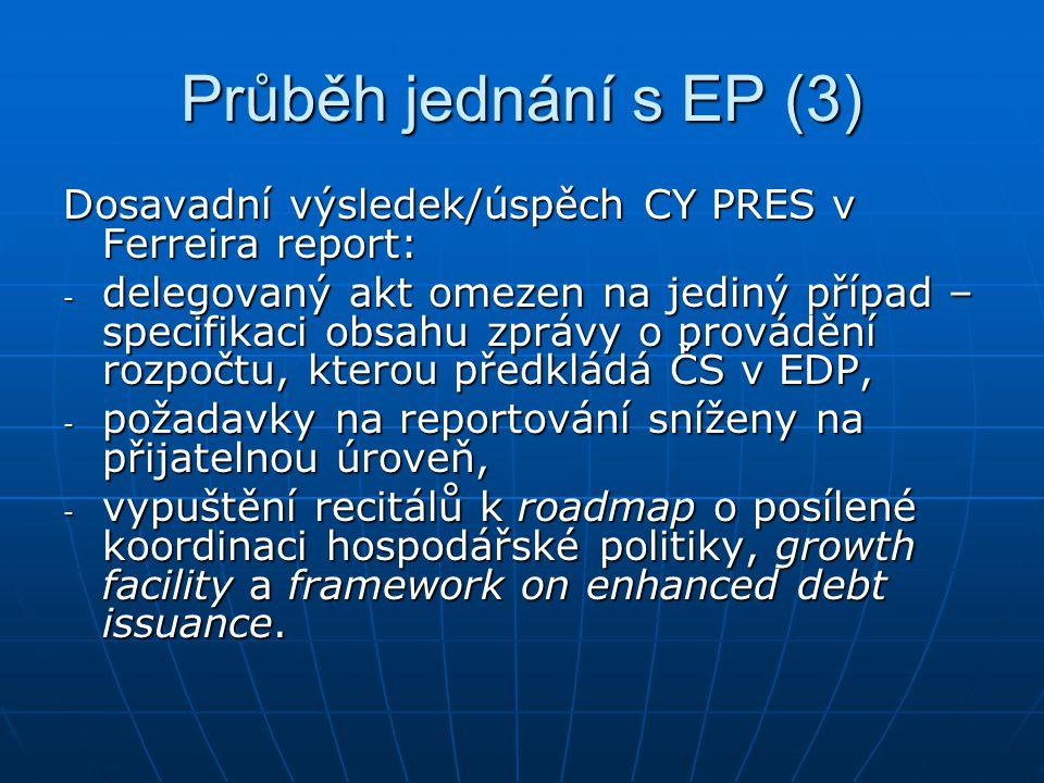 Průběh jednání s EP (3) Dosavadní výsledek/úspěch CY PRES v Ferreira report: - delegovaný akt omezen na jediný případ – specifikaci obsahu zprávy o provádění rozpočtu, kterou předkládá ČS v EDP, - požadavky na reportování sníženy na přijatelnou úroveň, - vypuštění recitálů k roadmap o posílené koordinaci hospodářské politiky, growth facility a framework on enhanced debt issuance.